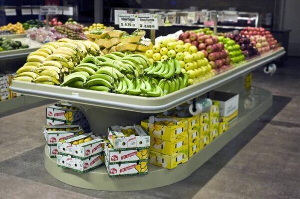banana produce table displays in BEST VALUE FOODMART Ontario corner