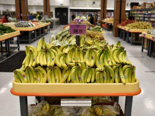 banana produce table displays in FRESHWAY – MARKHAM Ontario
