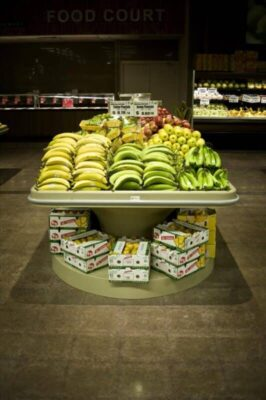 banana produce table displays with bottom storage in BEST VALUE FOODMART Ontario